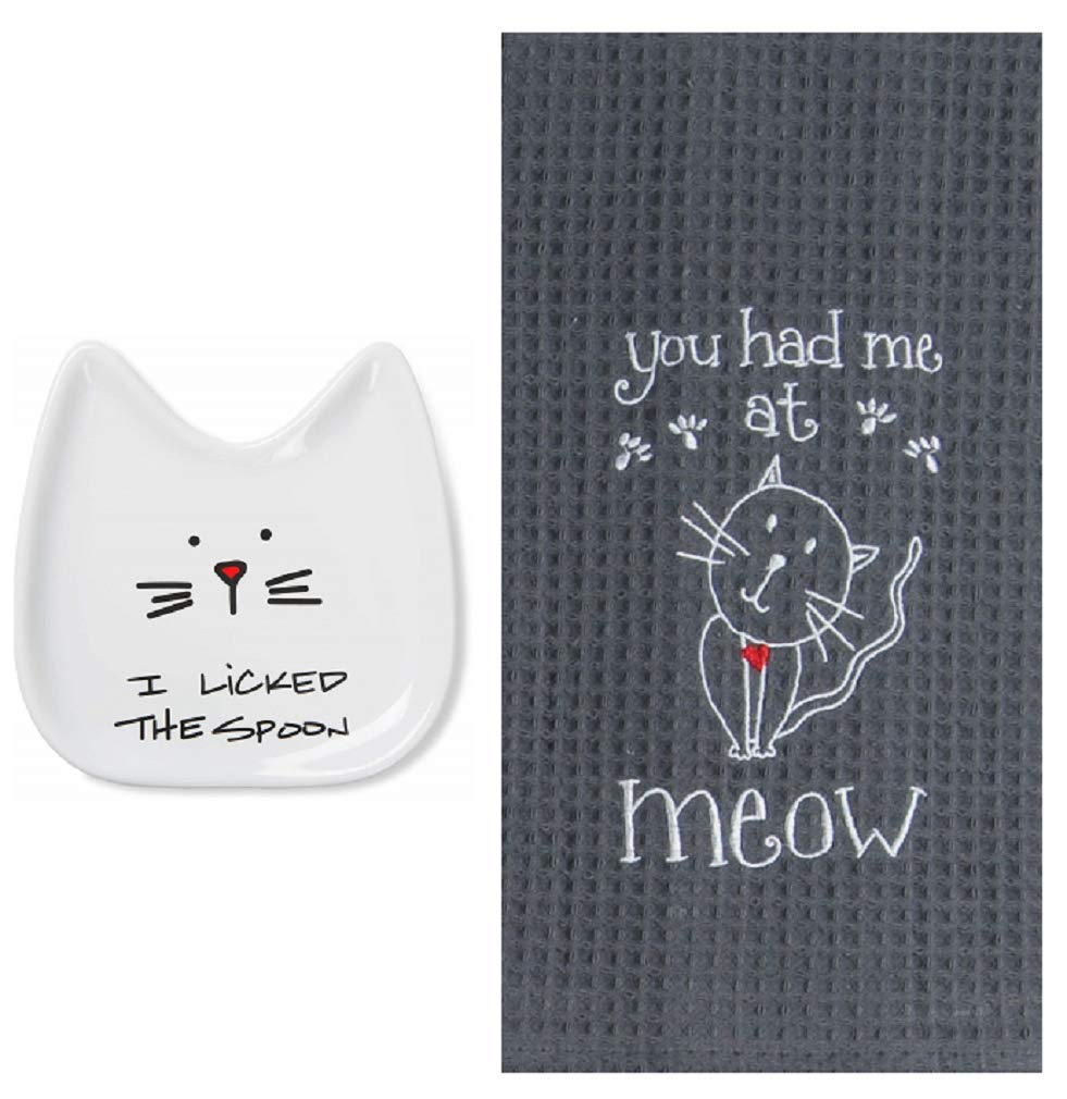 Cat Lover Kitchen Bundle with Pavilion Blobby Cat Spoon Rest and Kay Dee Grey Kitchen Waffle Towel