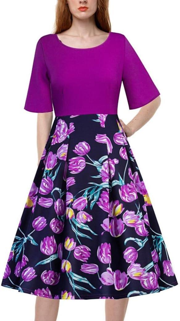 Faldas, Challeng Vestido con estampado de cuello redondo con manga ...