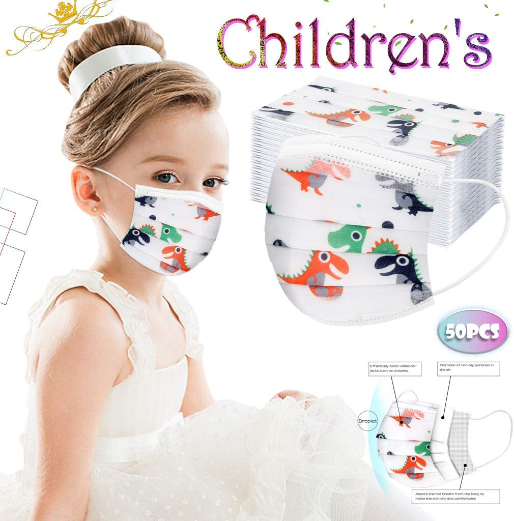 50Pcs Disposable Face Bandanas with Cute Cartoon Pattern No Washable Breathable and Anti-Haze Dust Protection L Cloth Covering for Kids Children Face Shield 3 Ply Non-Woven