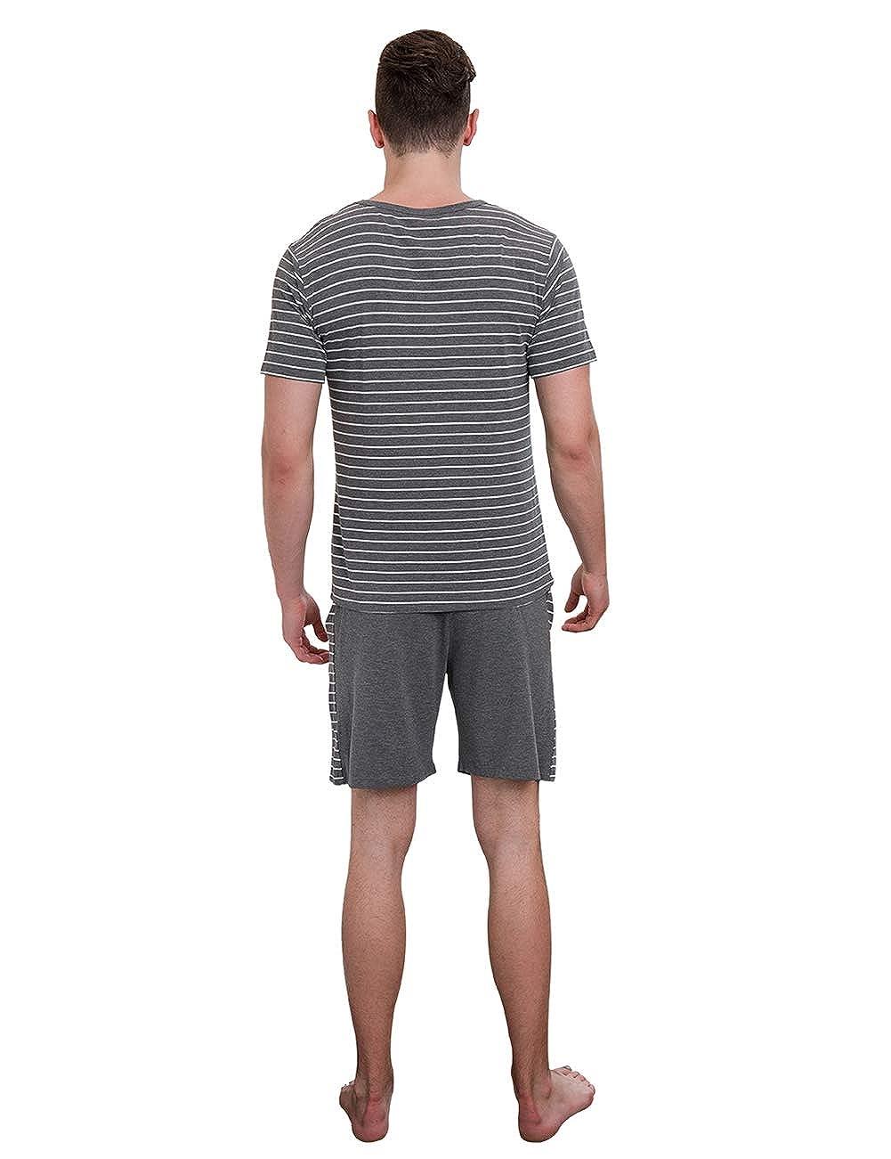 NAI-S Pigiama Uomo a Due Pezzi Pigiama da Uomo in Cotone Pantaloncini a Maniche Corte Abbigliamento Casual Estivo