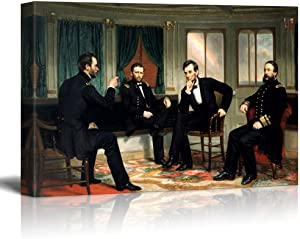 "The Peacemakers by George Peter Alexander Healy Famous Fine Art Reproduction World Famous Painting Replica on ped Print Wood Framed - Canvas Art Wall Decor - 16"" x 24"""