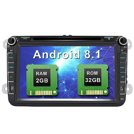 Android 8.1 8 Pulgadas Radio Coche 2 DIN para VW 2GB+32GB, Autoradio Pantalla con WiFi/GPS/Bluetooth/RDS/CD DVD/USB/FM Am/SD, Apoyo Control Volante y ...