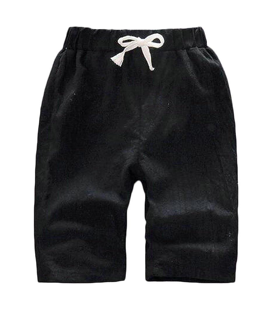Pandapang Children Basic Drawstring Childrens Place Elastic Waist Knee-Length Jog Pants