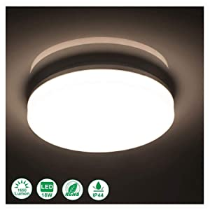 Airand 4000K Ceiling Lights LED Flush Mount 18W Ceiling Lamps with 120 Piece LED Chips Without Flicker, 9.5 Inch, 1650 Lumens, Waterproof IP44, 80Ra for Bedroom Bathroom Hallway Stairwell (Cool White)