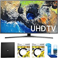 Samsung 65 4K Ultra HD Smart LED TV 2017 Model (UN65MU7000FXZA) with Terk Indoor Flat 4K HDTV Multi-Directional Antenna, 2x 6ft HDMI Cable & Universal Screen Cleaner for LED TVs