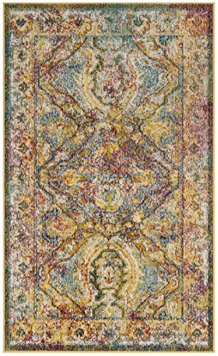 Safavieh Crystal Collection CRS516A Light Blue and Orange Distressed Bohemian Area Rug (3' x 5') Crystal Blue Collection
