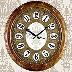 YLCJ Luxurious European-Style Atmosphere 20 inches Silent Oval Wall Clock Living Room Pastoral Modern Quartz Clock Home (Color: Coffee Grain)