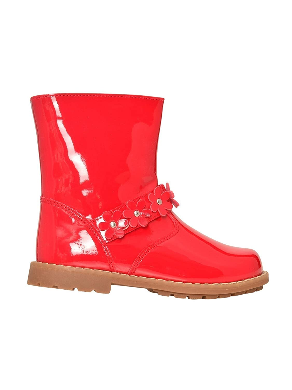 LAmour Girls Red Patent Side Zipper Flower Moto Boots 11-2 Kids