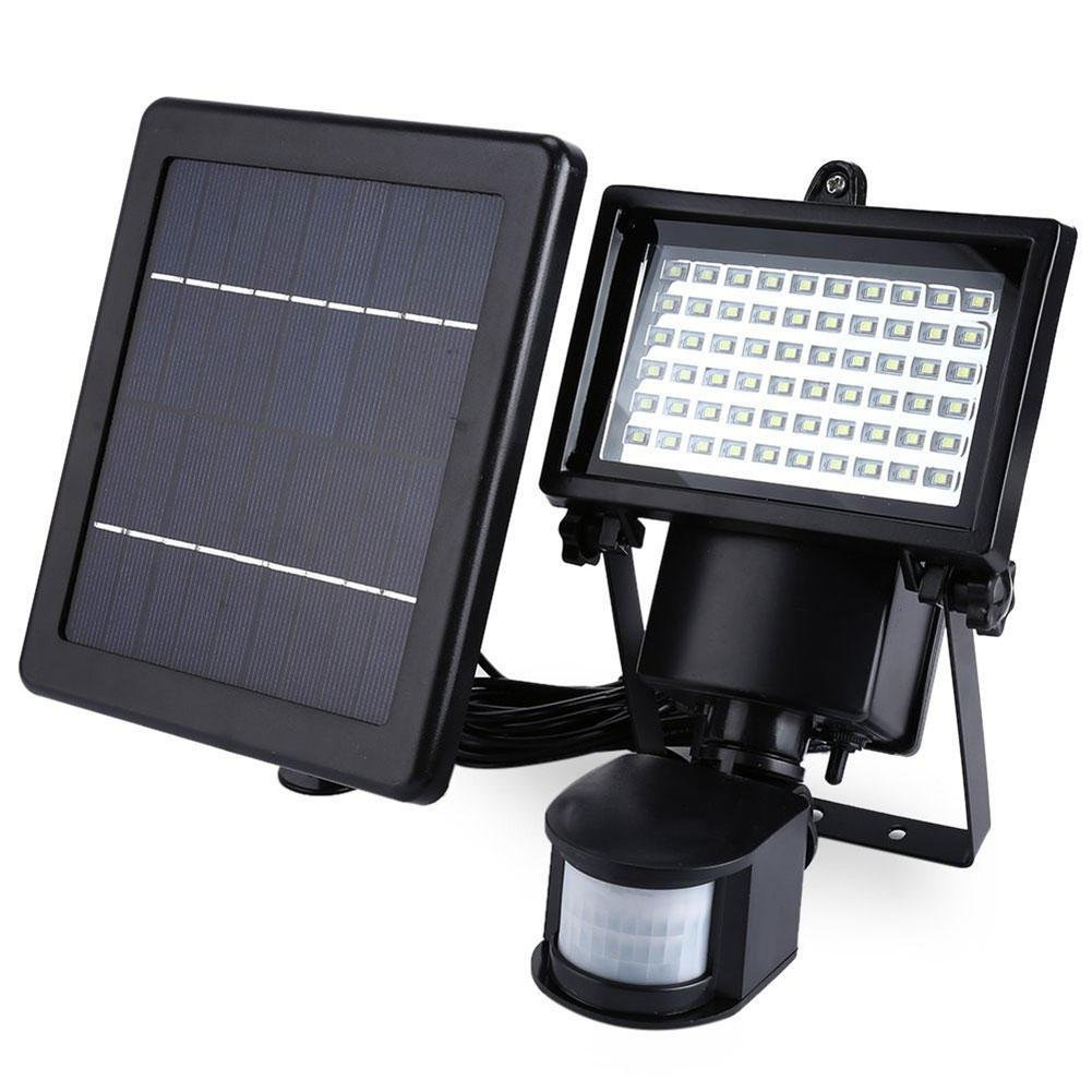 RoseSummer 60 LEDs Bright White Outdoor Garden Solar Motion Sensor adjustment Security Flood Light Spot Lamp