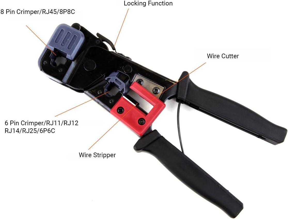 ULTECHNOVO para conectores RJ45 Cat6 Cat5 7 EZ Crimpadora de cables modular todo en uno