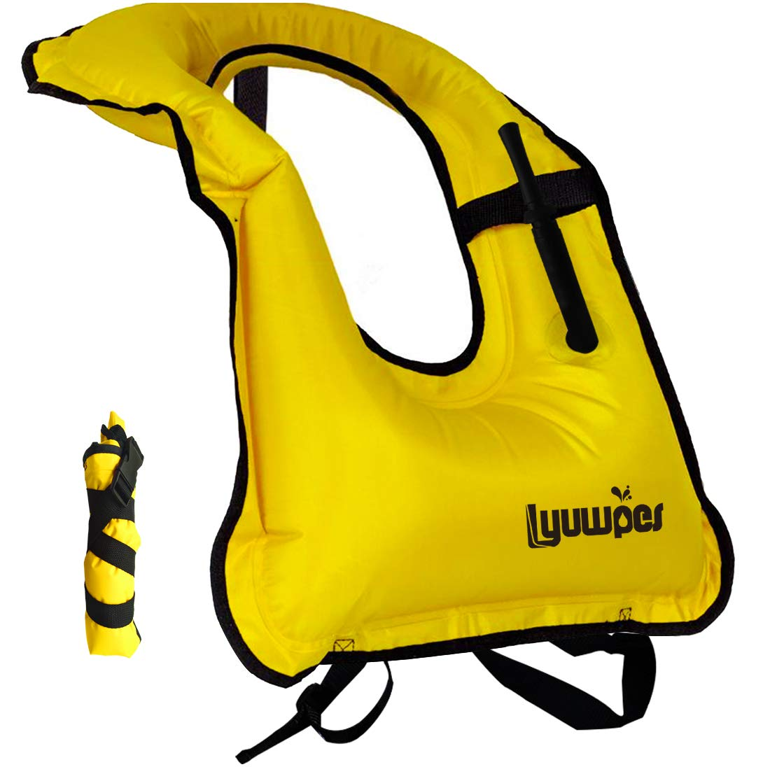 Lyuwpes Inflatable Snorkeling Vest Adult Snorkel Vests Free Diving Safety Jackets Yellow