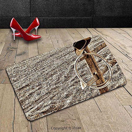 Custom Machine-washable Door Mat Western Decor Old Cowboy Hat and Authentic Lariat Lasso on Fence in a Ranch Field Western Photo Inches Sepia Indoor/Outdoor Doormat Mat Rug Carpet
