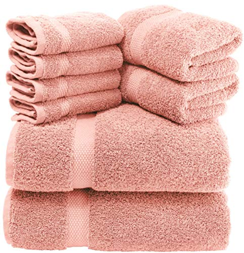 White Classic Luxury Pink Bath Towel Set - Combed Cotton Hotel Quality Absorbent 8 Piece Towels | 2 Bath Towels | 2 Hand Towels | 4 Washcloths [Worth $72.95] 8 Pack | Pink