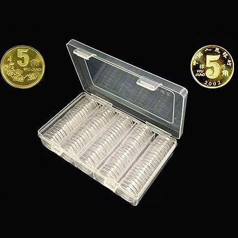 Joyibay 100PCS Caja De Almacenamiento De Monedas PequeñA Y Redonda De 1.18