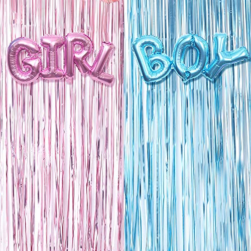 Gender Reveal Decoration Set - Metallic Fringe Curtains + BOY Girl Foil Balloons Gender Reveals Party Photo Backdrop (Pink/Blue)