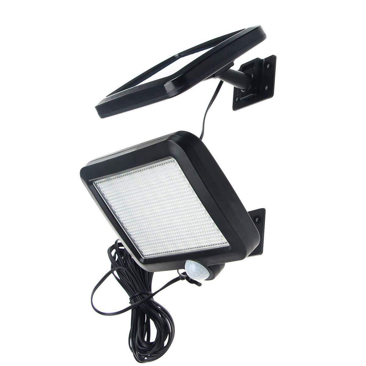 Luci esterne di sicurezza solare, 56 LED Lampada da parete solare Sensore umano/luce Impermeabile Super Bright Lights per giardino, recinzione, porta, cortile o ingresso TZZ