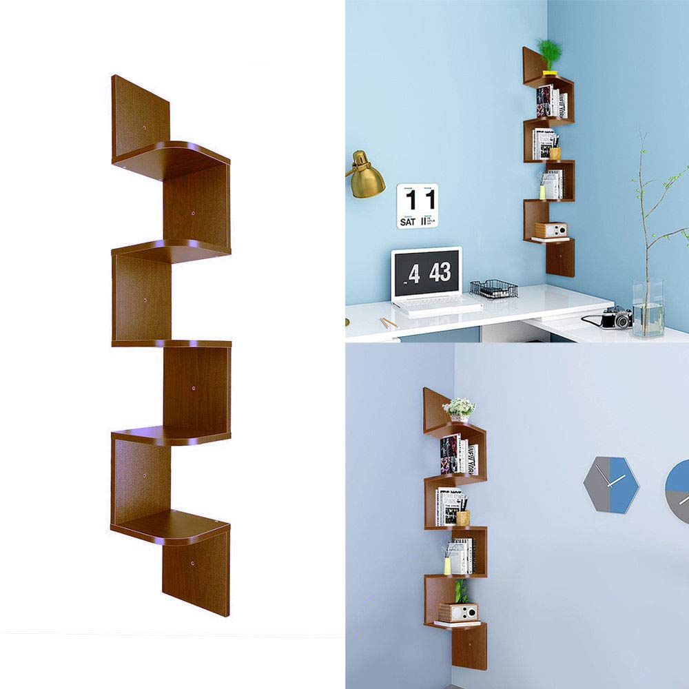 Prountet Home Indoor Corner Shelf Wall Mount Zig Zag Furniture Wooden Shelves Rack Modern