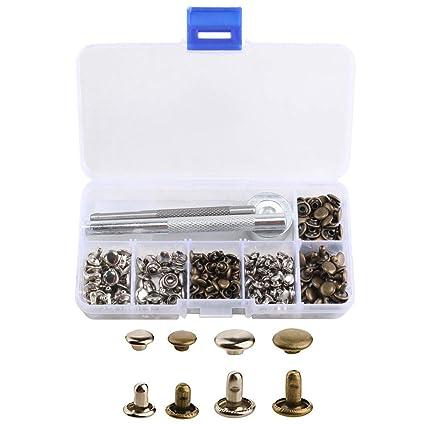 ETSAMOR 120pcs Remaches de cuero 2 tamaños remache de doble tapa pernos de metal de plata/bronce + kit de herramienta de fijación para artesanía de ...