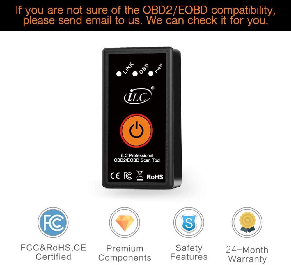 Windows Android OBDII Diagnostics OBD pour v/éhicule iLC OBD2 Diagnostiqueur Bluetooth 4.0 Lecteur de Codes d/éfaut Compatible avec iOS iPhone