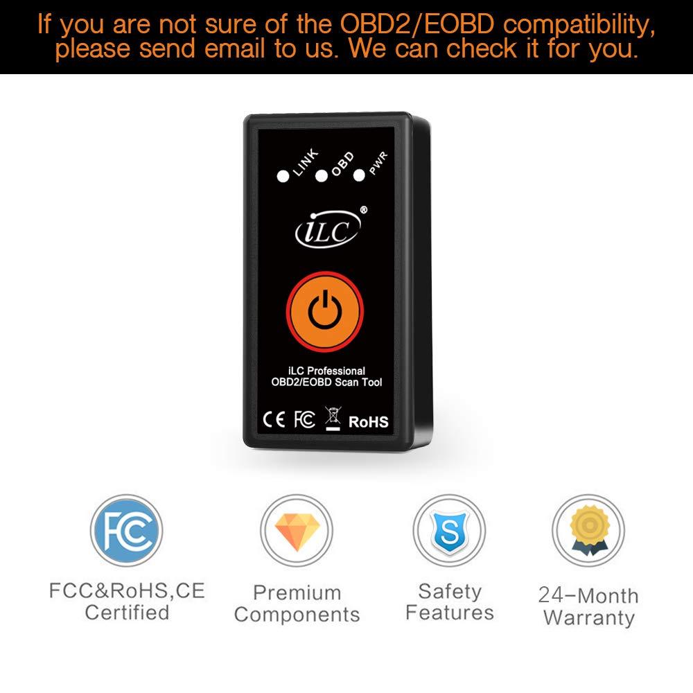 Android /& Windows Dispositivo iLC OBD2 Bluetooth Coche Diagn/óstico Esc/áner inal/ámbrico OBD2 Bluetooth Herramienta OBD Compatible con iPhone iOS