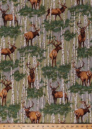 Cotton Elk Wapiti Deer Birch Trees Woods Forest Landscape Scenic Hunting Animals Nature Wildlife The Elk Gathering Cotton Fabric Print by the Yard ()