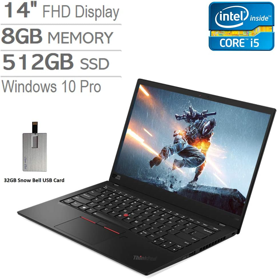 "2020 Lenovo ThinkPad X1 Carbon Gen 7, 14"" FHD Laptop Computer, Intel Core i5-10210U, 8GB RAM, 512GB PCIe SSD, Intel UHD Graphics, Backlit KBoard, HD Webcam, Win 10 Pro, Black, 32GB Snow Bell USB Card"