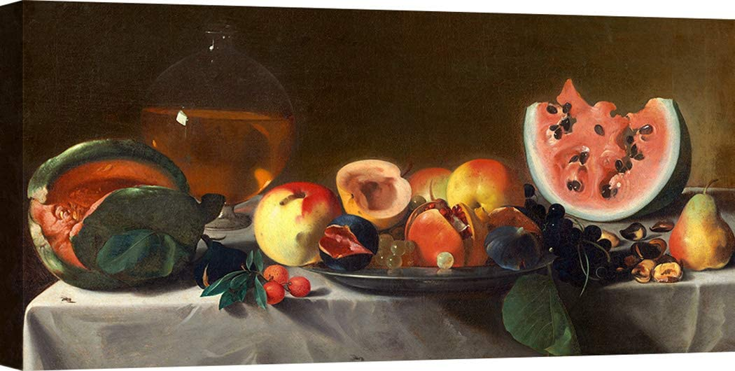 Art Print Cafe – Cuadro, Bodegón – Impresion sobre Lienzo - Pensionante del Saraceni, Still Life with Fruit and Carafe – 70x35 cm