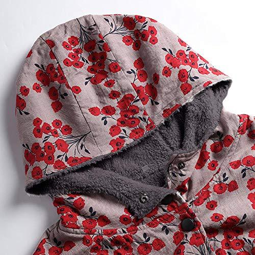 Rojo Para Mujer Larga Casual Capucha Npradla Manga Chaqueta wAqxz0