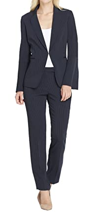 649d70d3d1 Tahari by Arthur S. Levine Womens Pinstripe Pant Suit With Long Bell Sleeve  Jacket Pinstripe