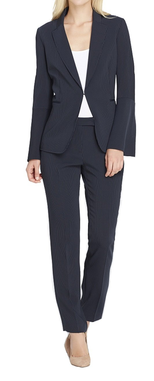 Tahari by Arthur S. Levine Women's Pinstripe Pant Suit with Long Bell Sleeve Jacket, Navy/Ivory, 16