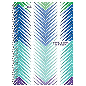 """Five Star Spiral Notebook, 2 Subject, College Ruled Paper, 100 Sheets, 9-1/2"""" x 6"""" Sheet Size, Design Will Vary (08236)"""