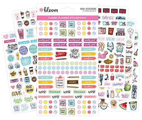 (bloom daily planners New Classic Planner Sticker Sheets - Variety Sticker Pack - 417 Stickers Per)