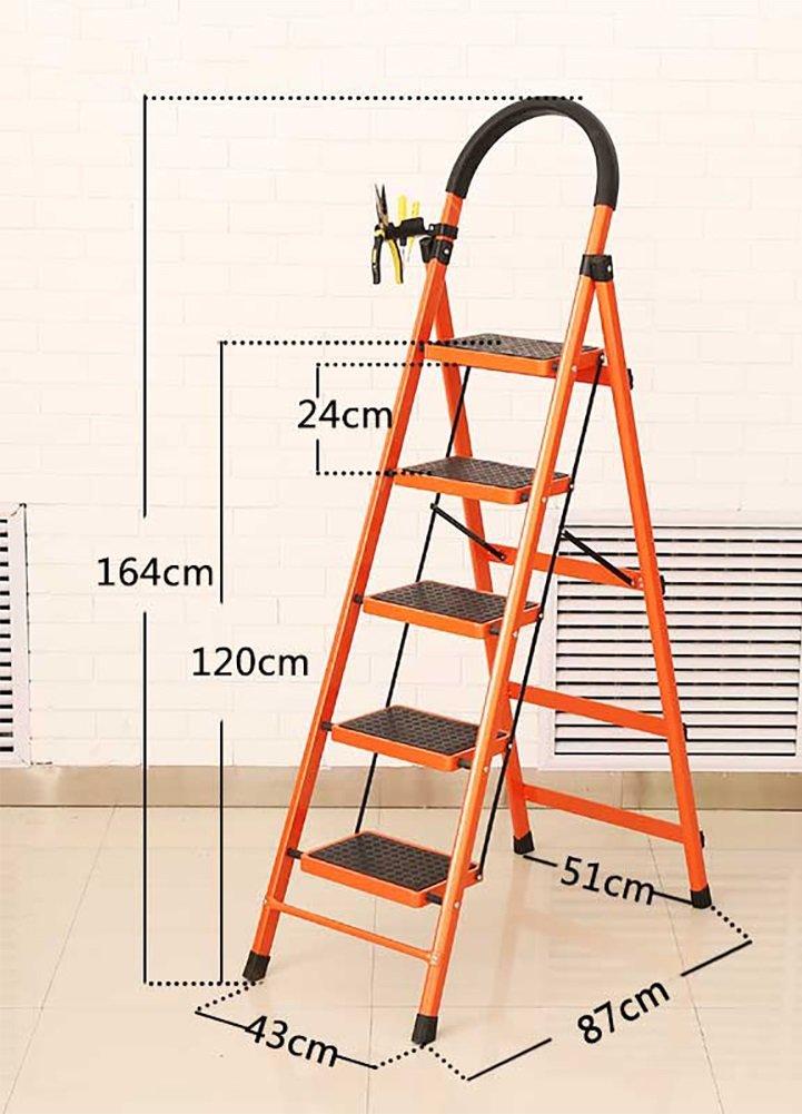 YD-Step 踏み台 - 大人用 小型 折りたたみ スツール - 家庭用 折りたたみ はしご ハンドル 滑り止めペダル - 厚手 折りたたみ式 フットスツール/はしご/& 43 * 87 * 164cm オレンジ YIDIAN-147 43*87*164cm オレンジ B07GCK179X