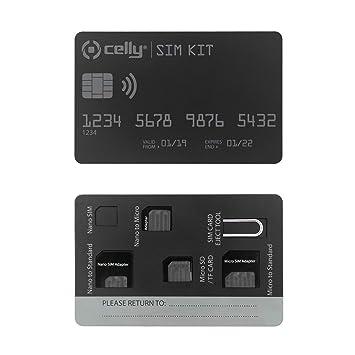 Celly Sim Kit Ad - Adaptador para Tarjeta SIM, Color Negro: Amazon ...