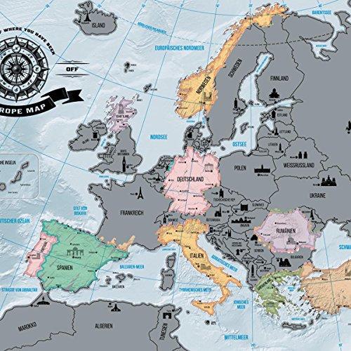 Mittelmeer Karte Europa.Goods Gadgets Europakarte Zum Rubbeln Scrape Off Europe Map Landkarte Deluxe Europa Welt Karte Poster Xxl