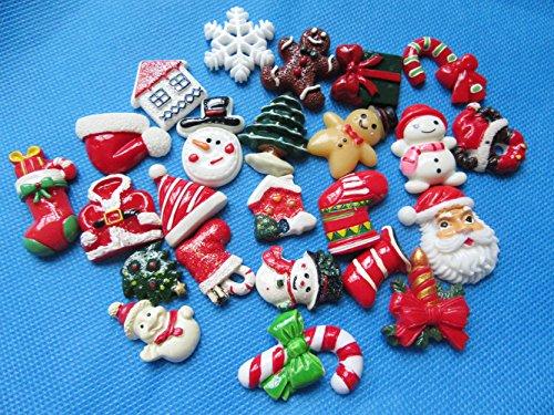 YYCRAFT Pack Of Random 30pcs Resin Flatback Scrapbooking X'mas Christmas Santa Tree Claus Beer Snowman Snowflake Sock-Mix