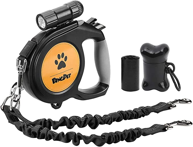 Heavy Duty Double Headed 16 ft Extendable Dog Leash for Small Medium Dogs Walking Training KOOLTAIL Dual Retractable Dog Leash Walk 2 Dogs up to 110 lbs