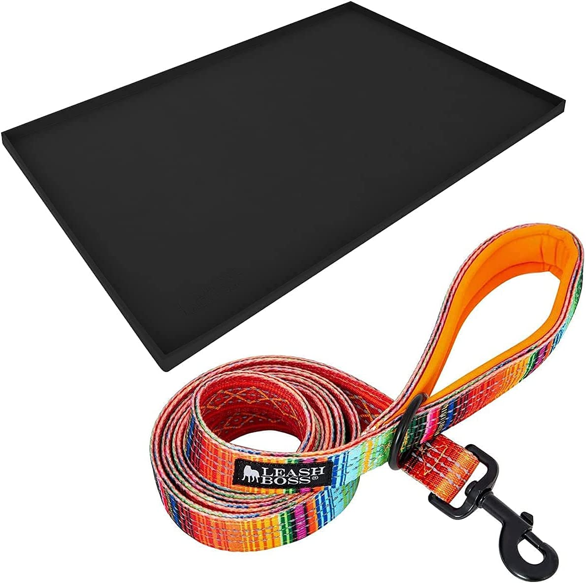"""Leashboss XL Mat and Blanket Leash - Silicone Dog Food Mat (Black 25"""" x 17"""") and Double-Thick 6Ft Reflective Leash with Padded Handle (Blanket)"""