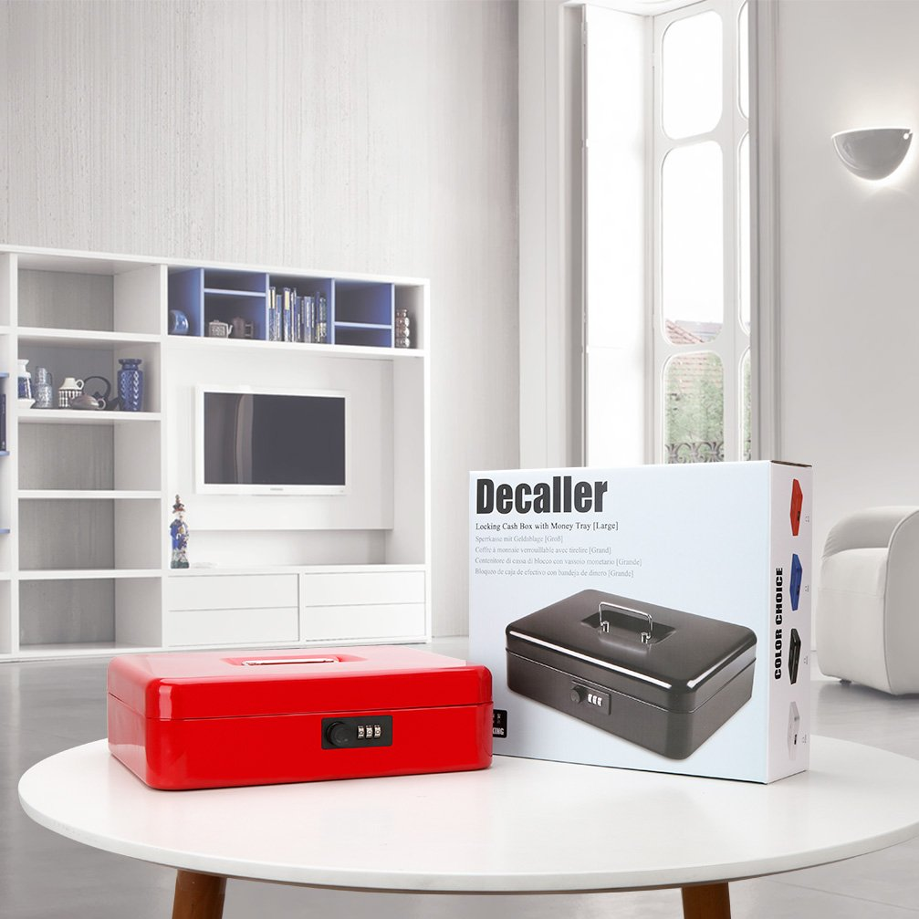 Safe Metal Cash Box with Money Tray & Combination Lock, Decaller Large Lock Storage Money Box with 5 Compartments Cash Tray, Red, 11 4/5'' x 9 2/5'' x 3 1/2'', QH3003L by Decaller (Image #6)