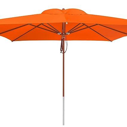 anndora Sonnenschirm Knicker 3 m rund knickbar  Winddach Orange Mandarin