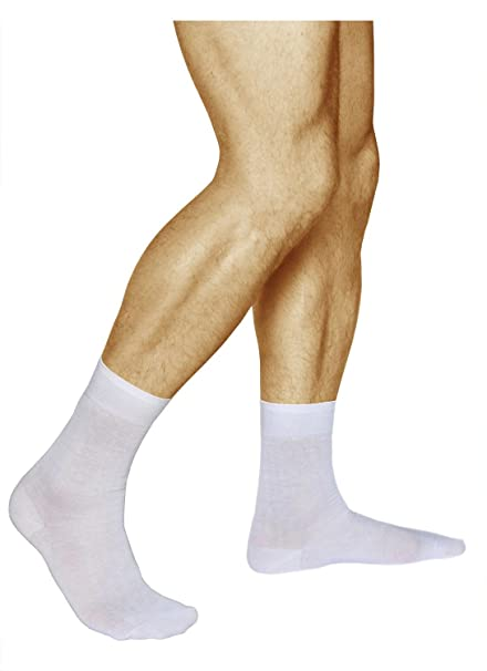 3 Pairs Mens Plain White Socks, 100% COMBED COTTON, Extremely Soft, Vitsocks