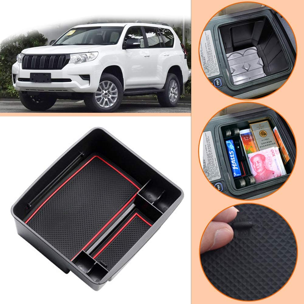 Longzhimei for Toyota RAV4 2013-2019 With holes Console Storage Tray ABS Material and PVC Latex Non-slip Mat Car Central Armrest Storage Box Tidying Organizer