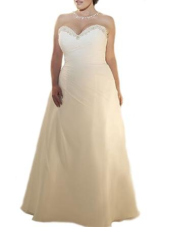 Weddingdazzle Plus Size Beach Wedding Dress Sweetheart Beaded