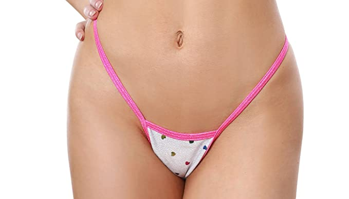 257424b1d06 Image Unavailable. Image not available for. Color  BODYZONE Apparel Women s  Shiny Hearts Print Tiny Low Back Tee Thong Panty.