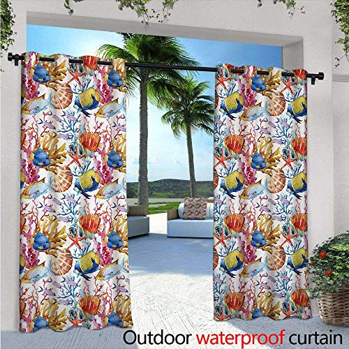 BlountDecor Fish Balcony Curtains W72 x L96 Coral Reef Scallop Shells Fish Figures Sea Plants Polyp Murky Nautical Maritime Life Outdoor Patio Curtains Waterproof with Grommets Multicolor