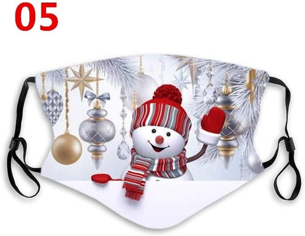 Christmas Printed Adults Washable Reusable Face Bandanas Breathable Multi-Purpose Facial Decorations Outdoors Work School