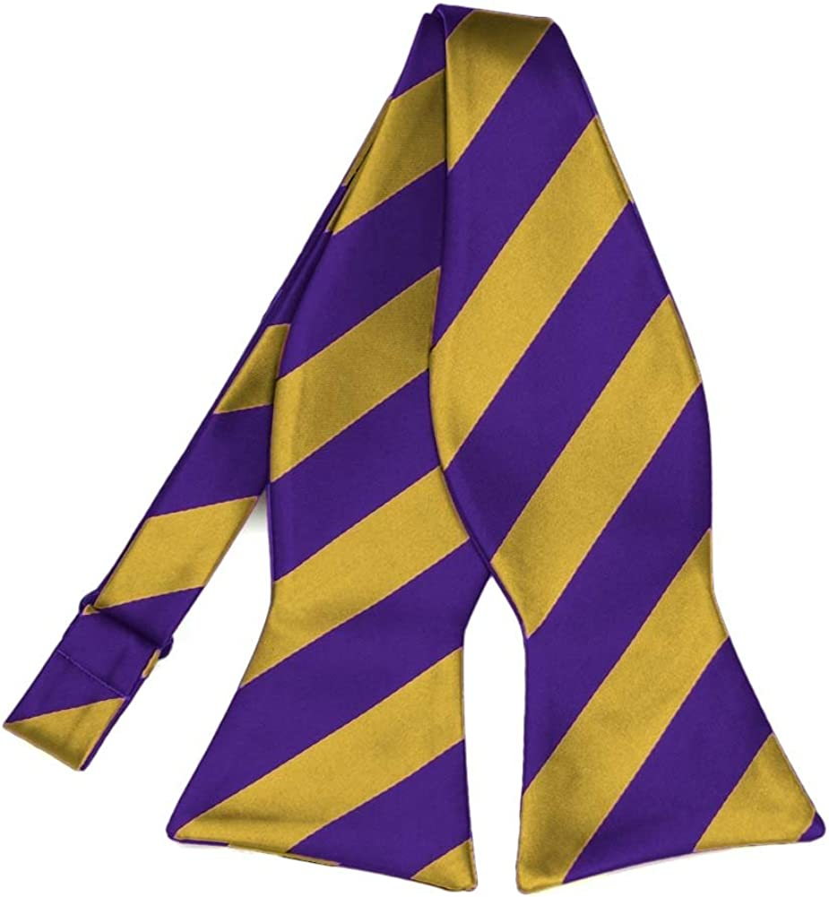 TieMart Dark Purple and Gold Striped Bow Tie