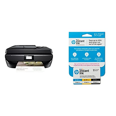 HP OfficeJet 5255 Wireless All-in-One Printer (M2U75A) and Instant Ink Prepaid Card for 50 100 300 Page per Month Plans (3HZ65AN)