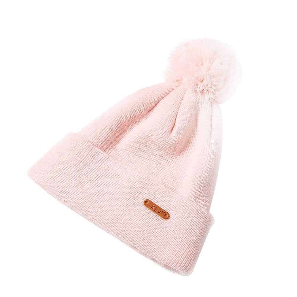 Oyfel Sombrero de Punto Bufanda de Invierno de Nieve Gorros Caliente Caza Calido Orejas Christmas Navidad 18X26cm Pompon Piel con Bola