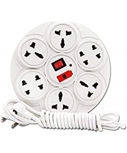 Black Apple 8+1 Socket Round Extension Board | 6 Amp | 3.5 Yards Cable with Three Pin Plug | Fuse | Led Indicator